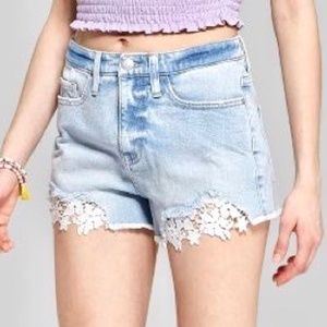 Wild Fable High Rise Jean Shorts White Eyelet Lace